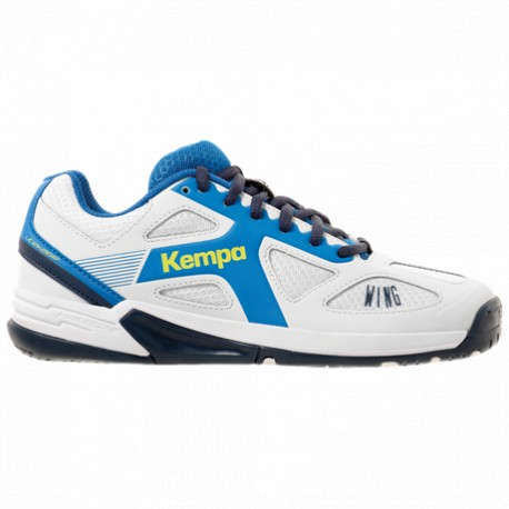 Zapatilla de balonmano Wing Jr.blaco/azul KEMPA